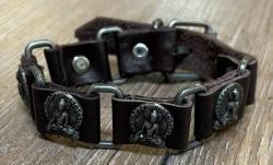 Armband - Leder - Buddha aus Zinn - braun