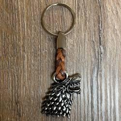 Schlüsselanhänger - Wolf mit geflochtenem Lederband - Keyring