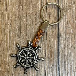 Schlüsselanhänger - Steuerrad mit geflochtenem Lederband - Keyring