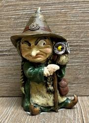 Figur - Lustige Hexe klein - brauner Hut, Eule & Gehstock