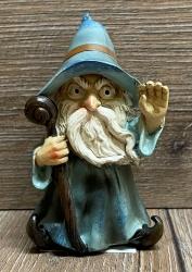 Figur - Lustiger Zauberer klein - blauer Hut & Zauberstab