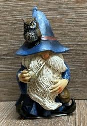 Figur - Lustiger Zauberer klein - blauer Hut, Pfeife & Eule