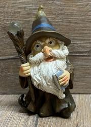 Figur - Lustiger Zauberer klein - brauner Hut, Zauberstab & Buch