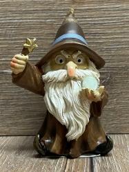 Figur - Lustiger Zauberer klein - brauner Hut, Zauberstab & Glaskugel