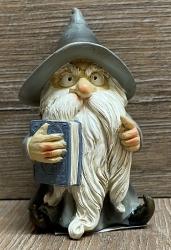 Figur - Lustiger Zauberer klein - grauer Hut & Buch