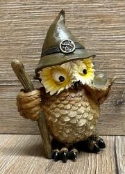 Figur - Lustige Eule Zauberer neu - brauner Hut, Stab & Glaskugel