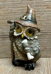 Figur - Lustige Eule Zauberer neu - brauner Hut, Stab & Schriftrolle