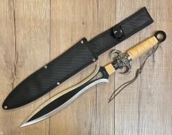 Waffen Deko - Dolch - Teufelsmesser gerade - Stahlklinge, braun-beiger Griff, Nylonscheide