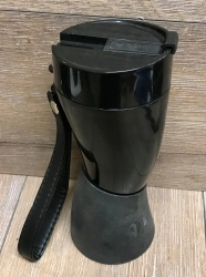 To-Go - Kaffebecher - Trinkhorn Kunststoff mit Edelstahlinlay & Kunstlederriemen - 350ml - schwarz