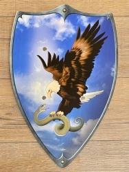 Holz Ritterschild 49cm x 32cm - Adler mit Schlange