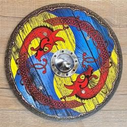 Holz Ritterschild 40cm rund - Wikinger - blau-gelb
