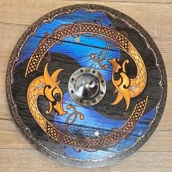 Holz Ritterschild 40cm rund - Wikinger - blau-schwarz