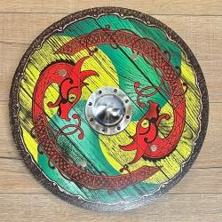 Holz Ritterschild 40cm rund - Wikinger - grün-gelb