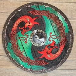 Holz Ritterschild 40cm rund - Wikinger - grün-schwarz