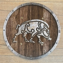 Holz Ritterschild 40cm rund - Wildsau/ Keiler/ Boar