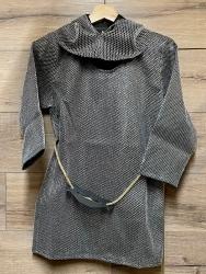 Kinder - Ritter Set Kettenhemd, Haube & Seil mit Schwerthalter - Größe 128 + 140