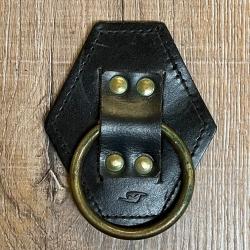 Metall - Ring mit Leder Waffenhalter/ Werkzeughalter - klein - schwarz