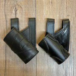 Leder - Schwert Halter zweifarbig - verschiedene Designs - schwarz/ schwarz