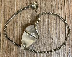 Pendel - Spiral Pendel Bergkristall - 2,5cm, Messing, versilbert
