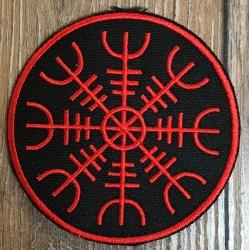 Aufnäher - gestickt - Vegvisir/ nordischer Kompass - schwarz-rot