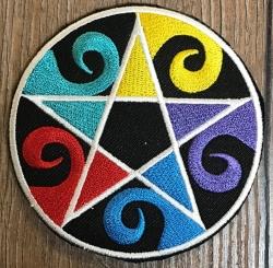 Aufnäher - gestickt - Pentagramm/ Wicca/ Wellen - bunt