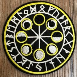 Aufnäher - gestickt - Mondphasen mit Runen - schwarz, weiß & gelb