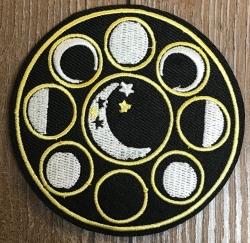 Aufnäher - gestickt - Mondphasen - schwarz, weiß & gelb