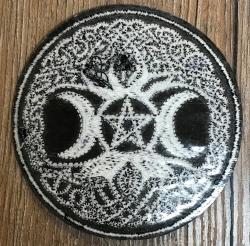 Aufnäher - gestickt - keltischer Lebensbaum mit Pentagramm - schwarz-weiß