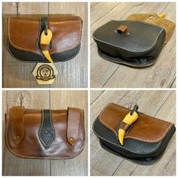Tasche - Leder - LC3181 Gürteltasche mit Holzknebel - braun/ schwarz