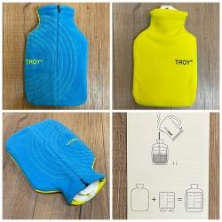 TROY° - Wärmflasche mit Premium-Bezug - blau/ gelb