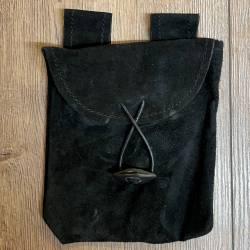 Tasche - Leder - Gürteltasche Flach/ thin mit Knebelknopf - schwarz - klein