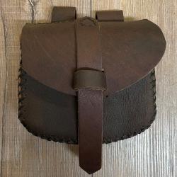Tasche - Leder - Gürteltasche genäht - medium - braun