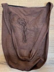 Tasche - Baumwolle - Umhängetasche LC mit Kordelzug - grobe Baumwolle - braun