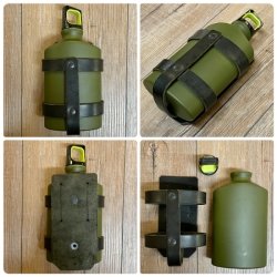 Leder - Flaschenhalter inkl. Trinkflasche aus Alu 500ml