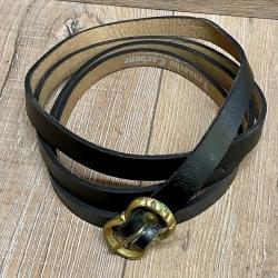 Gürtel - Leder - LC5055 schmal - schwarz - 190cm