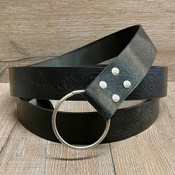 Gürtel - Leder - LC5046 Ringgürtel keltisch - schwarz - 190cm