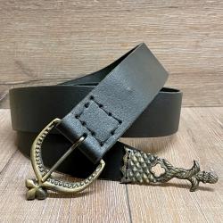 Gürtel - Leder - MT - Ulrich aus Oberleder mit Gürtelspitze ungelocht -5cm x 144cm- schwarz - Ausverkauf