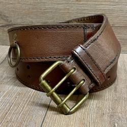 Gürtel - Leder - Ring Belt - 120cm - braun