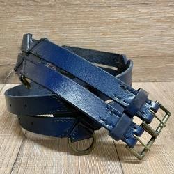 Gürtel - Leder - Twin Belt - 120cm - blau