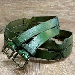 Gürtel - Leder - Twin Belt - 120cm - grün