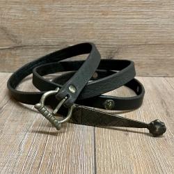 Gürtel - Leder - MT - Sophia aus Oberleder mit Gürtelspitze - 2cm x 160cm- schwarz - Ausverkauf