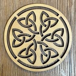 Untersetzer - Holz - durchbrochen - Keltischer Knoten rund - 10cm - natur - Coaster - Dekoration - Weihnachtsbaumschmuck