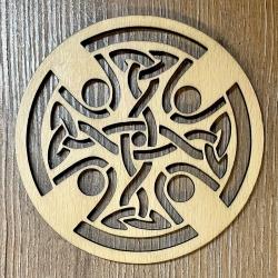 Untersetzer - Holz - durchbrochen - Keltisches Kreuz rund - 10cm - natur - Coaster - Dekoration - Weihnachtsbaumschmuck