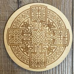 Untersetzer - Holz - Keltisches Kreuz gelasert rund - 10cm - natur - Coaster - Dekoration