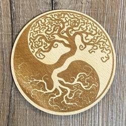 Untersetzer - Holz - Lebensbaum Yin Yang gelasert rund - 10cm - natur - Coaster - Dekoration