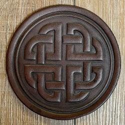 Untersetzer - Leder - Keltischer Knoten rund - braun - Coaster - Dekoration