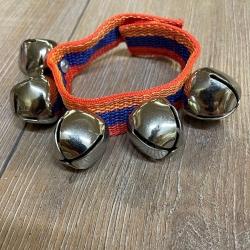 Musik - Schellenband 3-farbig mit 5 Schellen & Klettverschluss - Länge: ca. 23 cm