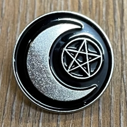 Brosche - Pin - Halbmond & Pentagramm - rund - schwarz/ silber