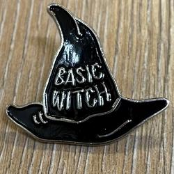 Brosche - Pin - Hexenhut Basic Witch - schwarz/ silber
