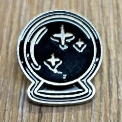Brosche - Pin - Kristallkugel - schwarz/ silber